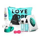 Womanizer Pro Mint Set Klitoris-Stimulator für sie mit Liebeskugeln + Gleitgel + Toybag + XL-Stimulationsaufsatz, von AMORELIE