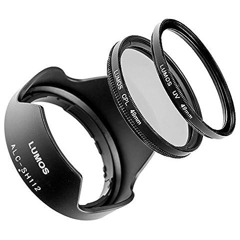 LUMOS Zubehör Set mit Bajonett Gegenlichtblende ALC-SH112 & 49mm Polfilter & MC UV Filter / kompatibel zu Sony E Objektiven E 18-55mm f/3.5-5.6 OSS SEL-1855 SEL16F28 E 35mm f/1,8 OSS