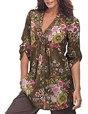 LuckyGirls Mujer Camisetas Manga Larga Flor Pintura Cuello EN V Sexy Suelto Tops Blusa Sudaderas Camisas Talla...
