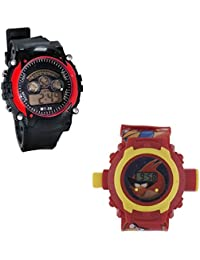 Shanti Enterprises Combo Angry Bird 24 Images Projector Watch And Sports Watch Multi Color Dial For Kids