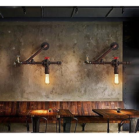 Ristorante vintage personalità creativa bar parete lampada parete lampada acqua rurale americana navata eoliche industriali lampada parete lampada da parete,Doppia testa