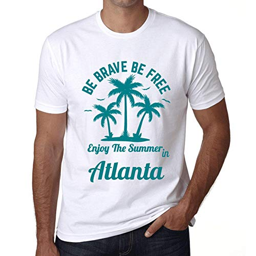 Herren Tee Männer Vintage T-shirt Be Brave & Free Enjoy the Summer Atlanta Weiß - Atlanta Braves Rock