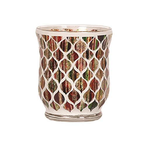 Red, Green, and Gold Foil Votive or Tea Light Candle Holder For Candles