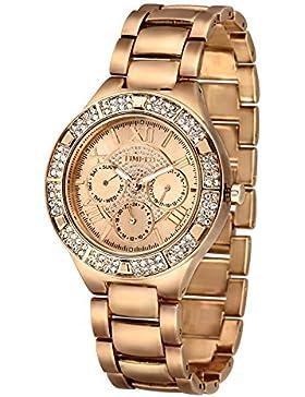 Time100 moderne Strass damen Chronographuhr Armbanduhr damenuhr Gold #W50318G.02A