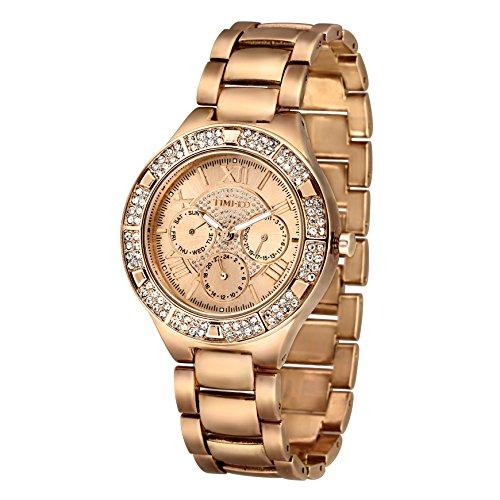 Time100 moderne Strass damen Chronographuhr Armbanduhr damenuhr Gold #W50318G.02A (Neue Womens Strass)