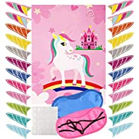 """WOWOSS Pin The Horn on The Unicorn Party Game for Kids Birthday Party Favor Games Unicorn Party Supplies Unicorn Gifts for Girls with a Large 21"""" x 28"""" Poster, 24 Reusable Sticker Horns 2 Eye Mask"""
