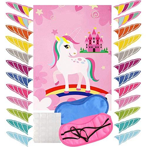 WOWOSS Pin das Horn auf dem Einhorn Geburtstag Party Spiel mit 24 Hörnern,Augenbinde (Einhornspiel) für Einhorn Party Vorräte, Kinder Geburtstag Party Dekorationen