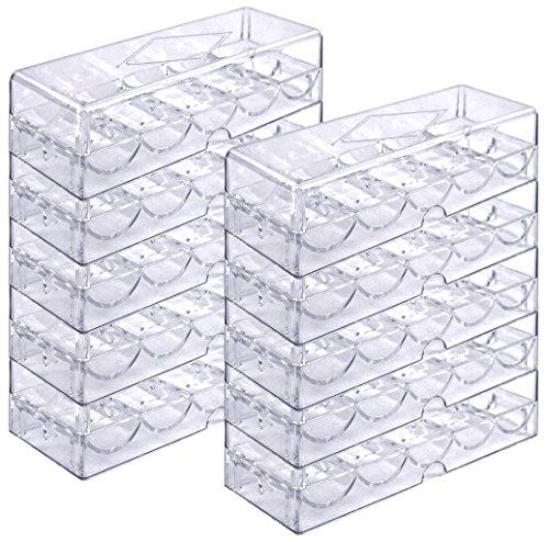 Poker Chip Tray Set für 1.000 Pokerchips - 10 Trays mit Deckeln für je 100 Chips - Chip-Gestell / -Tablett, durchsichtig, Acryl (3 Card Poker-tisch)