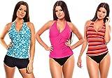 6 tlg. Bademode verschiedene Outfits / Push up Mix-Tankini mit Hotpants / Slip f4861 Farbe: Nr.15 Pink/Weiß, Türkis/Schwarz, Bunt gestreift, Gr. 40