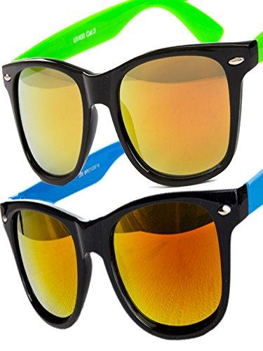 5 er Set EL-Sunprotect® Sonnenbrille Nerdbrille Brille Nerd Feuer Verspiegelt Blau Rot Weiß Schwarz Grün YrgVAY0