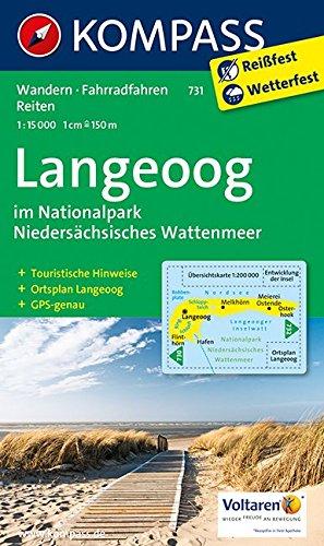 Langeoog im Nationalpark Niedersächsisches Wattenmeer: Wanderkarte mit Rad- und Reitwegen und touristischen Hinweisen. GPS genau. 1:15000 (KOMPASS-Wanderkarten, Band 731)