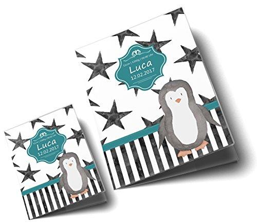 U-Heft Hülle SET Creative Royal Untersuchungsheft & Impfpasshülle wunderschöne Geschenkidee personalisierbar mit Namen und Geburtsdatum (U-Heft Set personalisiert, Pinguin) - 2