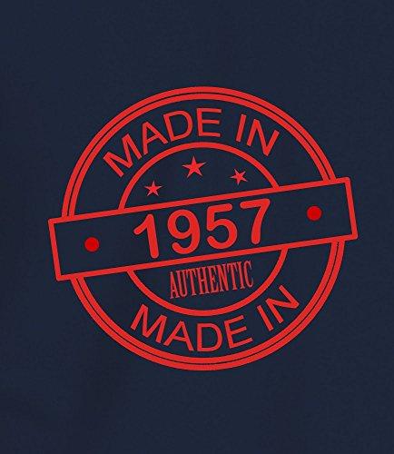 """Geschenk T Shirt zum 60. Geburtstag, Herren: """"Made In 1957"""" Marineblau"""