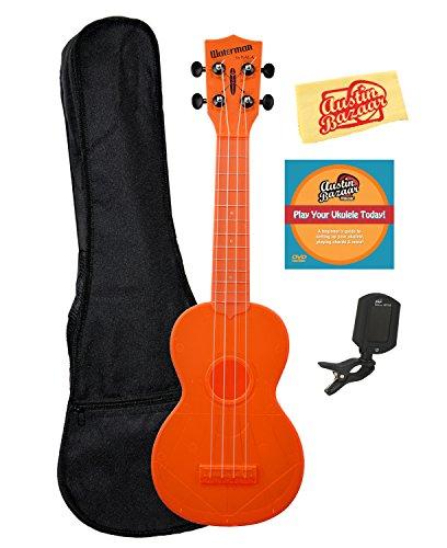 Kala ka-sw Waterman Ukulelen Bundle w/Gig Bag Fluoreszierendes Orange