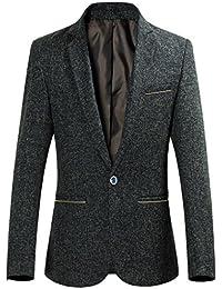 Herren Sakko für Freizeit 1-Knopf Sportjacke Blazer Jacke mit flachen Taschen