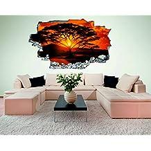 Savanne Baum Afrika 3D Look Wandtattoo 70 X 115 Cm Wanddurchbruch Wandbild  Sticker Aufkleber DesFoli ©
