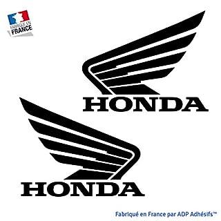 ADP Adhésifs Lot de 2 Stickers Honda pour réservoir de Moto ou Autre déco (Noir)