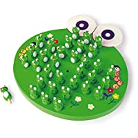 """small foot 1876 wooden solitaire game """"Frogs"""", parlour game with 33 frog figures, from 6 years on"""