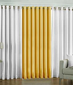 Indian Online Mall Pack of 3 Piece polyester Plain Window Curtain Set - 5 feet, Curtain(White and Yellow)