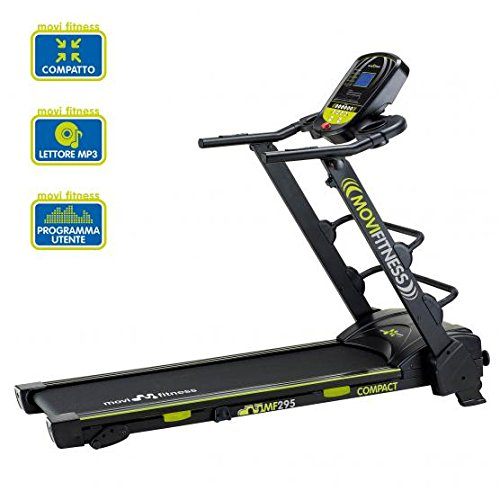Movi Fitness MF295, Tapis Roulant Salvaspazio Unisex - Adulto, Nero/Verde, 170 x 72 x 135 cm