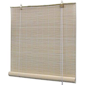 Natural Dark Brown Wicker Roll Up Roller Blind Blinds
