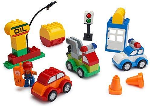 Play Build Car Creator Bausteine ??Set - 52 Stück - Enthält Mechanic Minifigure, Garage Zubehör & Base Parts, um ein Polizeiauto, Öl Rig, Tow Truck & More - Kompatibel mit LEGO DUPLO Rig Truck