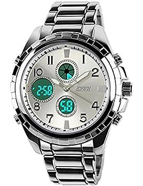 TOPCABIN Herren Military Style Dual Time Zones Analog-Digital Hart Stahlband Armbanduhr - Silber