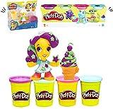 Play Doh Knete Set knete zubehör – intelligente knete Play-Doh Town Figure & 4er Pack playdoh knete in Verschiedenen Farben (112 g) (Ice Cream Girl)