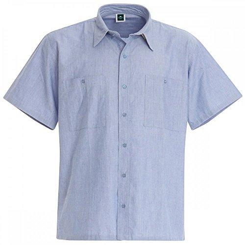 Baumwoll Chambray Hemd mit kurzen Ärmeln - 2 Stück Set - Blau, M (Kurz Popeline Herren)