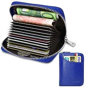 Porta Carte di Credito per Donna Uomo Genuino del Titolare della Carta di Credito in Pelle RFID con 13 Ranuras para Tarjetas e 2 Compartimenti per Banconote e Monete (Blu)