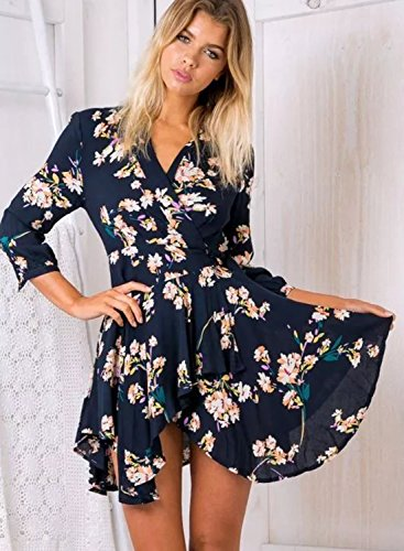 Futurino Women's Sexy Floral Print 3/4 Sleeve Summer A Line Wrap Mini Dress Navy