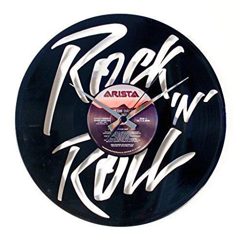 Disc'O'Clock Orologio in Vinile da Parete LP 33 Giri Silenzioso - Rock 'N' Roll - Idea Regalo A Tema Musica Rock