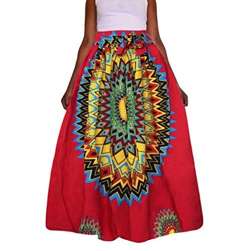 Frauen Dashiki Print Chiffon-Kleid VENMO Hohe Taille Party Boho Ankara Maxi Langen Rock Freizeit Röcke Damen Gefalteten Röcke Boho Kleid Elastischen Bund Rock Floral Drucken Partei-Rock (rot, 4XL)