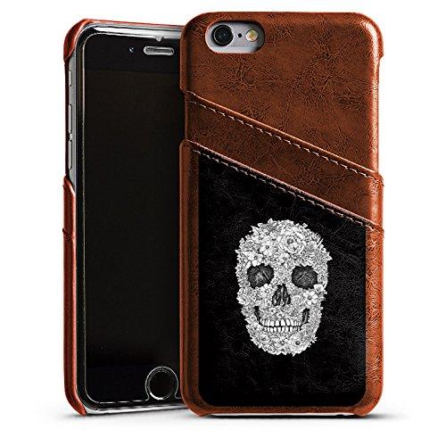 Apple iPhone 4 Housse Étui Silicone Coque Protection Tête de mort Crâne Fleurs Étui en cuir marron