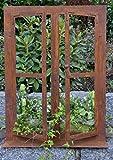 DEWOGA Deko-Fenster auf Platte 80x60cm Groß Edelrost Rost Metall Garten Neu
