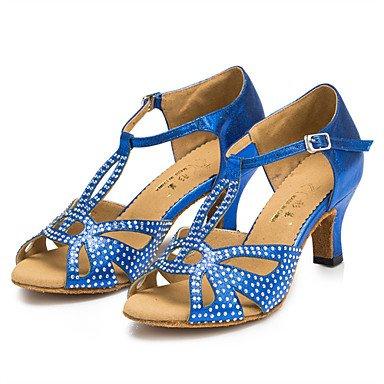 XIAMUO Anpassbare Damen Tanzschuhe Latin/Jazz Schuhe/Salsa/Samba Satin angepasste Ferse Schwarz/Blau/Grau Strass Grau