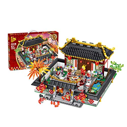 le Legoingly Chinese Style Silvester Dinner Building Blocks Set DIY Kits Bricks Educational Kids Toys ()