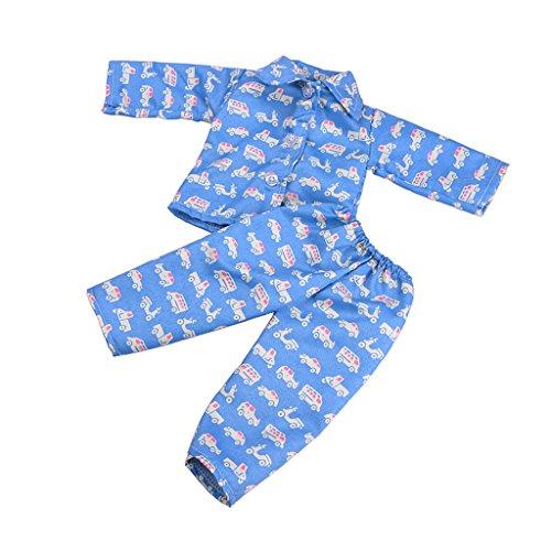 18 Puppe Zoll Muster (MagiDeal Puppe Pyjamas Kleidung Für 18 Zoll Amerikanische Mädchen Puppen, verschidene Muster - Blau Fahrzeuge)