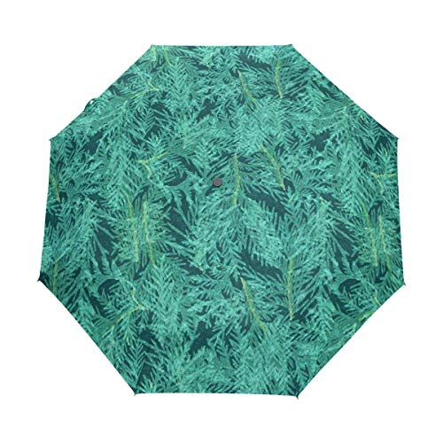Colored Tropical Leaves Canvas Fashion Print Cute Windproof Automatic tri-fold Umbrella Sun UV Protection Sun Umbrella -