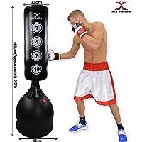Maxstrength® Sac de Frappe sur Pied Heavy Duty 1,7m de Boxe Arts Martiaux MMA Sparring Perforation d'entraînement Muay Thai Kickboxing 165cm 340,2Gram Gants.