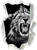 Monocrome, Dark Brüllender Löwe Schwarz/Weiß Papier im 3D-Look, Wand- oder Türaufkleber Format: 92x62cm, Wandsticker, Wandtattoo, Wanddekoration