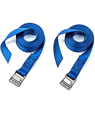 Two Heavy Duty Buckle Straps by Vault Cargo – 2.45Mx25MM Tensioning Belt with Zinc Plated Steel Cams designed to easily strap Kayaks, Bikes, or luggage to your car – Strong Adjustable webbing straps. - cheap UK light store.