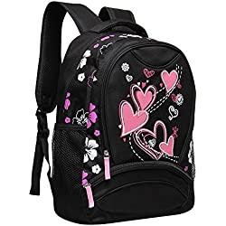 Veevan Girls Sweet Heart School Backpacks (Black)