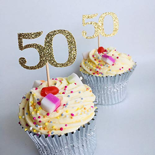 12 x Any age cupcake topper. Personalised Age number, 30th, 40th, 50th, 60th, 70th, 80th, 90th, any age, 12 gold glitter, Birthday party decorations