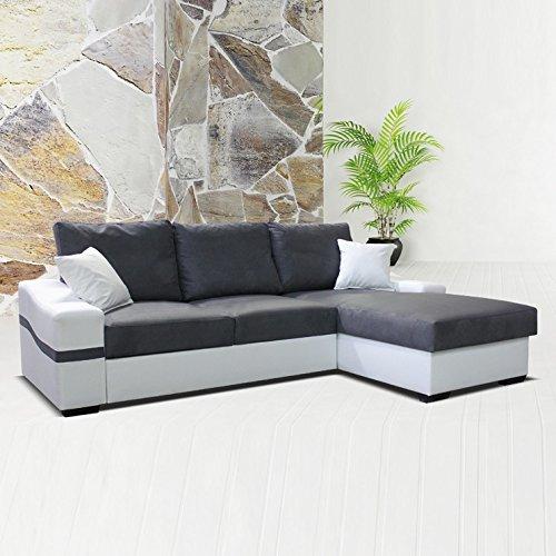 Angle réversible LAGOS - gris foncé blanc - convertible - coffre - tissu 100% polyester - couchage