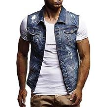 URSING Herren Herbst Winter Vintage Destroyed-Look Jeansjacke Weste Bluse  Weste Tops Beiläufige Ärmellos Cowboy a7efc5c1dd