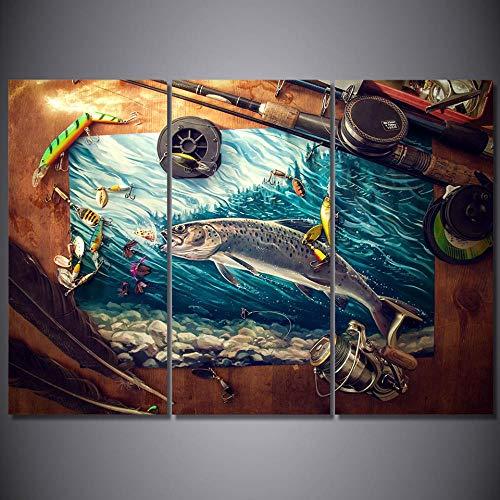 XiaoHeJD Wohnkultur HD Drucke Leinwand Wandkunst Bilder 3 Stücke Angelrute Thunfisch Blau Ozean Gemälde Wohnzimmer Fisch Poster Rahmen-M