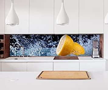 Aufkleber Küchenrückwand Zitrone Wasser Tropfen Küche Obst Folie ...