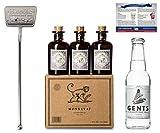 Monkey 47 Gin Set | 6X Monkey Gin Minis (6x 0.05 l) | Verpackt im schönen Monkey Karton | 1X Gin-Tonic Stirrer | Aus Edelstahl gefertigt | 1X Gents Tonic Wasser | 1X Gin-Cocktailkarte | Ideal als Geschenk