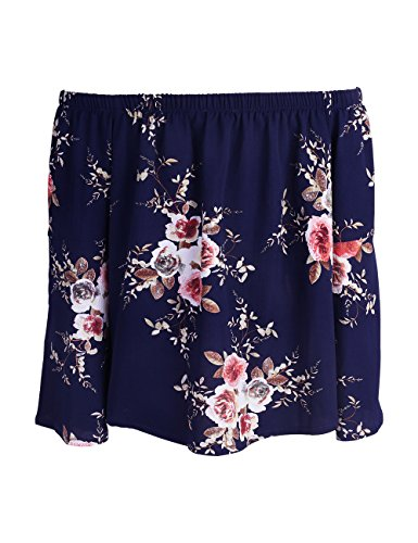 ISASSY Schulterfreies Damen Oberteile Casual Bluse Sommer T Shirt für Standurlaub Chiffon Tops Shirt Dunkelblau